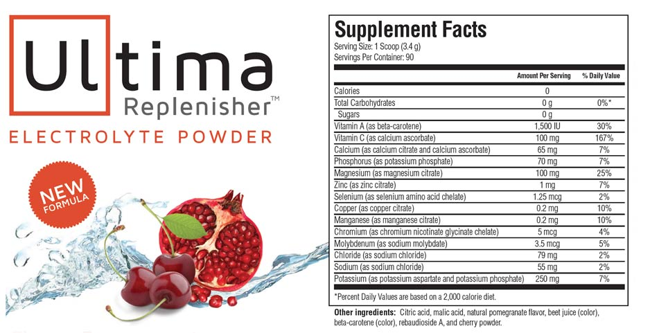 ultima replenisher electrolytes drinks Australiacherrypomegranate supplementfacts