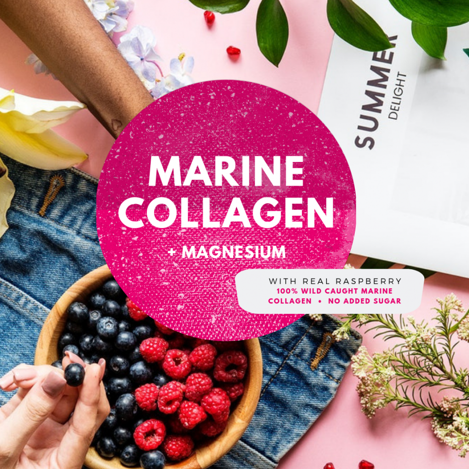 Marine Collagen + Magnesium with real Raspberry at Wheydirect in Australia